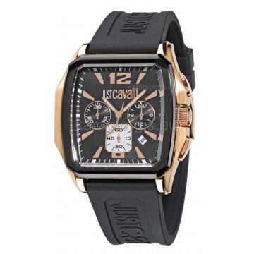 Ρολόι JUST CAVALLI τετράγωνο με λουράκι σιλικόνης 42mm
