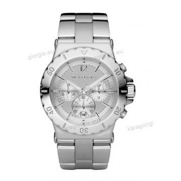 Ρολόι MICHAEL KORS γυναικείο-ανδρικό με ανοξείδωτο μπρασελέ και χρονογράφο ακριβείας 43mm