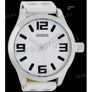Ρολόι OOZOO timepieces ανδρικό-γυναικείο με άσπρο white δερμάτινο λουράκι και άσπρο καντράν 51mm
