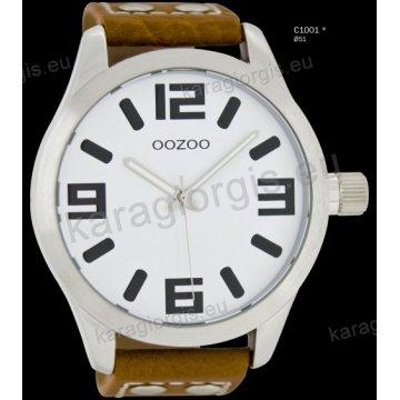 Ρολόι OOZOO timepieces ανδρικό-γυναικείο με καφέ brown δερμάτινο λουράκι και άσπρο καντράν 51mm