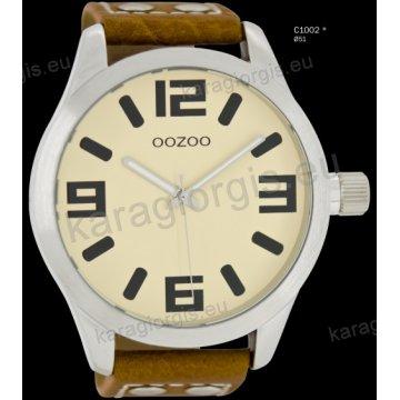 Ρολόι OOZOO timepieces ανδρικό-γυναικείο με καφέ brown δερμάτινο λουράκι και κρεμ καντράν 51mm