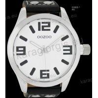 Ρολόι OOZOO timepieces ανδρικό-γυναικείο με μαύρο black δερμάτινο λουράκι και άσπρο καντράν 51mm