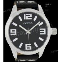 Ρολόι OOZOO timepieces ανδρικό-γυναικείο με μαύρο black δερμάτινο λουράκι και μαύρο καντράν 51mm