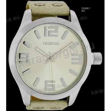 Ρολόι OOZOO timepieces ανδρικό-γυναικείο με μπεζ ανοιχτό sand δερμάτινο λουράκι και γκρι καντράν 51mm