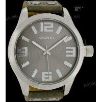 Ρολόι OOZOO timepieces ανδρικό-γυναικείο με γκρί grey δερμάτινο λουράκι και γκρι καντράν 51mm