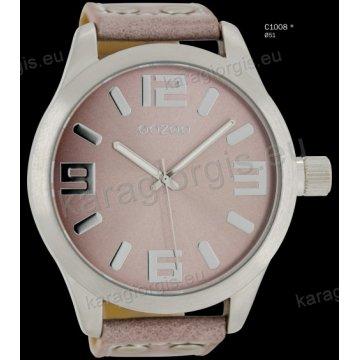 Ρολόι OOZOO timepieces ανδρικό-γυναικείο με ροζ-γκρι pinkgrey δερμάτινο λουράκι και ροζ καντράν 51mm