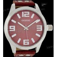 Ρολόι OOZOO timepieces ανδρικό-γυναικείο με κόκκινο coral red  δερμάτινο λουράκι και κόκκινο καντράν 51mm
