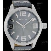Ρολόι OOZOO timepieces ανδρικό-γυναικείο με ανοιχτό γκρι aquagrey δερμάτινο λουράκι και γκρι καντράν 51mm