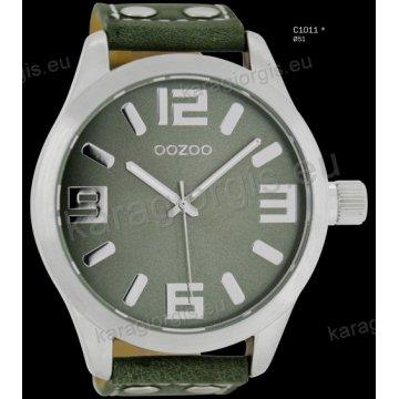 Ρολόι OOZOO timepieces ανδρικό-γυναικείο με λαδί greengrey δερμάτινο λουράκι και γκρι καντράν 51mm