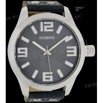 Ρολόι OOZOO timepieces ανδρικό-γυναικείο με μπλε σκούρο darkblue δερμάτινο λουράκι και γκρι καντράν 51mm