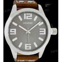 Ρολόι OOZOO timepieces ανδρικό-γυναικείο με καφέ brown δερμάτινο λουράκι και γκρι καντράν 51mm
