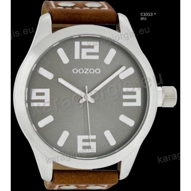Ρολόι OOZOO timepieces ανδρικό-γυναικείο με καφέ brown δερμάτινο λουράκι  και γκρι καντράν 51mm bc1ded11a3c