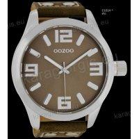 Ρολόι OOZOO timepieces ανδρικό-γυναικείο με καφέ ταμπά taupe δερμάτινο λουράκι και καφέ καντράν 51mm