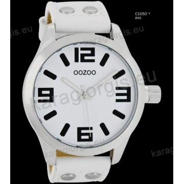 Ρολόι OOZOO timepieces ανδρικό-γυναικείο με άσπρο white δερμάτινο λουράκι και άσπρο καντράν 46mm