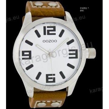 Ρολόι OOZOO timepieces ανδρικό-γυναικείο με καφέ brown δερμάτινο λουράκι και άσπρο καντράν 46mm