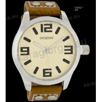 Ρολόι OOZOO timepieces ανδρικό-γυναικείο με καφέ brown δερμάτινο λουράκι και κρεμ καντράν 46mm