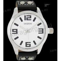 Ρολόι OOZOO timepieces ανδρικό-γυναικείο με μαύρο black δερμάτινο λουράκι και άσπρο καντράν 46mm