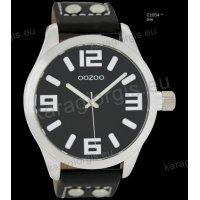 Ρολόι OOZOO timepieces ανδρικό-γυναικείο με μαύρο black δερμάτινο λουράκι και μαύρο καντράν 46mm