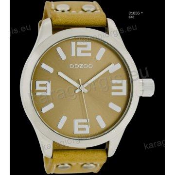 Ρολόι OOZOO timepieces ανδρικό-γυναικείο με μπεζ beige δερμάτινο λουράκι και μπεζ καντράν 46mm