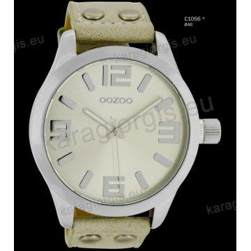 Ρολόι OOZOO timepieces ανδρικό-γυναικείο με μπεζ ανοιχτό sand δερμάτινο λουράκι και γκρι καντράν 46mm