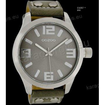 Ρολόι OOZOO timepieces ανδρικό-γυναικείο με γκρί grey δερμάτινο λουράκι και γκρι καντράν 46mm