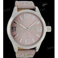 Ρολόι OOZOO timepieces ανδρικό-γυναικείο με ροζ-γκρι pinkgrey δερμάτινο λουράκι και ροζ καντράν 46mm
