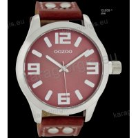 Ρολόι OOZOO timepieces ανδρικό-γυναικείο με κόκκινο coral red  δερμάτινο λουράκι και κόκκινο καντράν 46mm