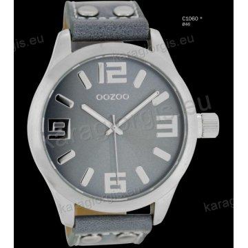 Ρολόι OOZOO timepieces ανδρικό-γυναικείο με ανοιχτό γκρι aquagrey δερμάτινο λουράκι και γκρι καντράν 46mm