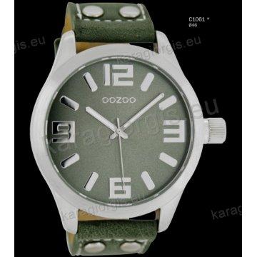 Ρολόι OOZOO timepieces ανδρικό-γυναικείο με λαδί greengrey δερμάτινο λουράκι και γκρι καντράν 46mm