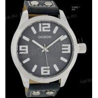 Ρολόι OOZOO timepieces ανδρικό-γυναικείο με μπλε σκούρο darkblue δερμάτινο λουράκι και γκρι καντράν 46mm