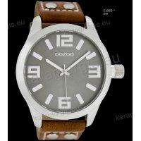 Ρολόι OOZOO timepieces ανδρικό-γυναικείο με καφέ brown δερμάτινο λουράκι και γκρι καντράν 46mm