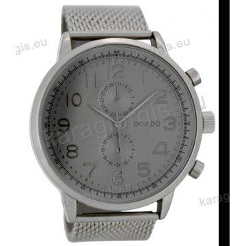 Ρολόι OOZOO timepieces ανδρικό-γυναικείο με μεταλλικό μπρασελέ γκρί καντράν  με ενδείξεις χρονογράφου 50mm baaddbc59a2