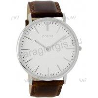 Ρολόι OOZOO Vintage ανδρικό-γυναικείο με καφέ brown δερμάτινο λουράκι και άσπρο καντράν 40mm