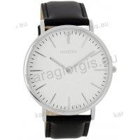 Ρολόι OOZOO Vintage ανδρικό-γυναικείο με μαύρο black δερμάτινο λουράκι και άσπρο καντράν 40mm