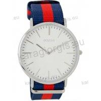 Ρολόι OOZOO Vintage ανδρικό-γυναικείο με μπλέ-κόκκινο blue-red δίχρωμο δερμάτινο λουράκι και άσπρο καντράν 40mm