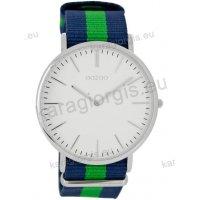 Ρολόι OOZOO Vintage ανδρικό-γυναικείο με μπλέ-πράσινο blue-green δίχρωμο δερμάτινο λουράκι και άσπρο καντράν 40mm
