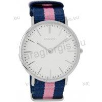 Ρολόι OOZOO Vintage ανδρικό-γυναικείο με μπλέ-ροζ blue-pink δίχρωμο δερμάτινο λουράκι και άσπρο καντράν 40mm