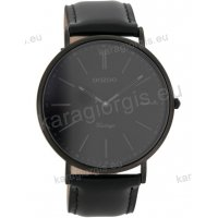 Ρολόι OOZOO Vintage ανδρικό-γυναικείο με μαύρο black δερμάτινο λουράκι και μαύρο καντράν total black 40mm