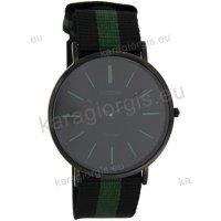 Ρολόι OOZOO Vintage ανδρικό-γυναικείο με μαύρο-πράσινο black-green δίχρωμο δερμάτινο λουράκι και μαύρο καντράν 40mm
