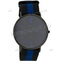 Ρολόι OOZOO Vintage ανδρικό-γυναικείο με μαύρο-μπλέ black-blue δίχρωμο δερμάτινο λουράκι και μαύρο καντράν 40mm