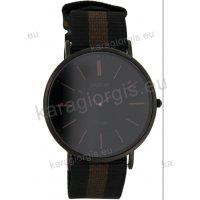Ρολόι OOZOO Vintage ανδρικό-γυναικείο με μαύρο-καφέ black-brown δίχρωμο δερμάτινο λουράκι και μαύρο καντράν 40mm