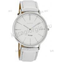 Ρολόι OOZOO Vintage ανδρικό-γυναικείο με άσπρο white δερμάτινο λουράκι και άσπρο καντράν 40mm