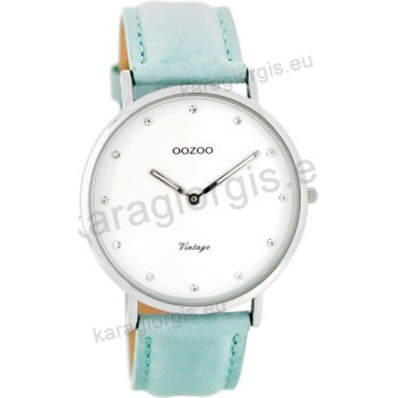 Ρολόι OOZOO Vintage γυναικείο με γαλάζιο δερμάτινο λουράκι σε άσπρο καντράν 40mm