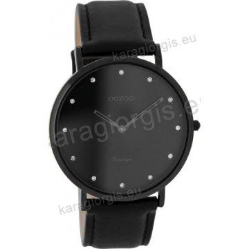 Ρολόι OOZOO Vintage total black γυναικείο με μαύρο δερμάτινο λουράκι σε μαύρο φίλντισι καντράν 40mm