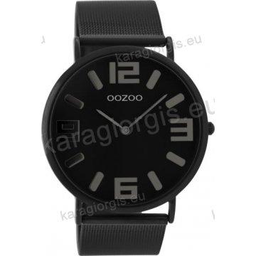 Ρολόι OOZOO Vintage total black γυναικείο-ανδρικό με μαύρο μπασελέ σε ψάθα με μαύρο καντράν 42mm