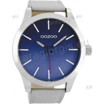 Ρολόι OOZOO timepieces ανδρικό-γυναικείο με γκρι δερμάτινο λουράκι σε μπλέ καντράν 48mm