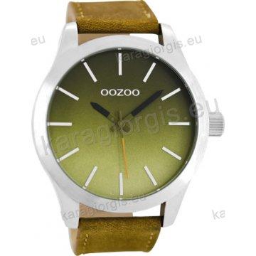 Ρολόι OOZOO timepieces ανδρικό-γυναικείο με καφέ δερμάτινο λουράκι σε ταμπά καντράν 48mm