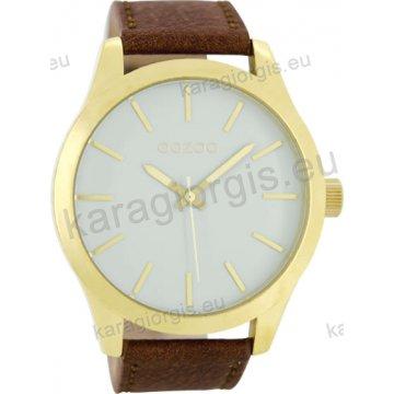 Ρολόι OOZOO timepieces ανδρικό-γυναικείο gold με καφέ δερμάτινο λουράκι σε ασημί καντράν 48mm