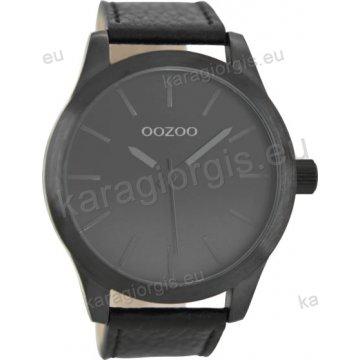 Ρολόι OOZOO timepieces ανδρικό-γυναικείο με μαύρο δερμάτινο λουράκι σε μαύρο καντράν 48mm