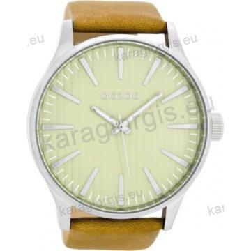 Ρολόι OOZOO timepieces ανδρικό-γυναικείο με ταμπά δερμάτινο λουράκι σε γκρι καντράν 50mm